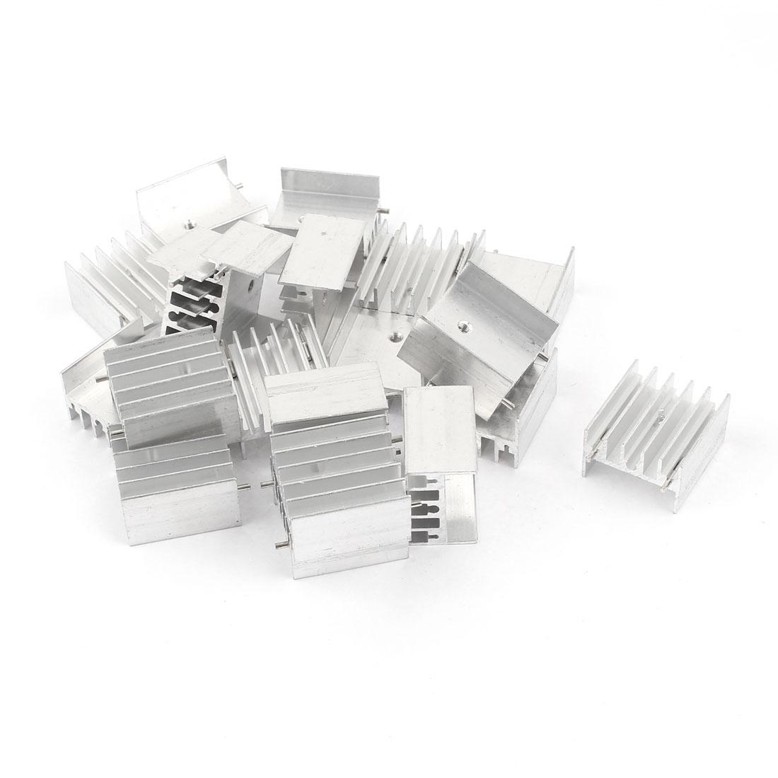 20 x Silver Tone 25x23x16mm Aluminum Heatsink Radiator + 2 Needles for Mosfet IC