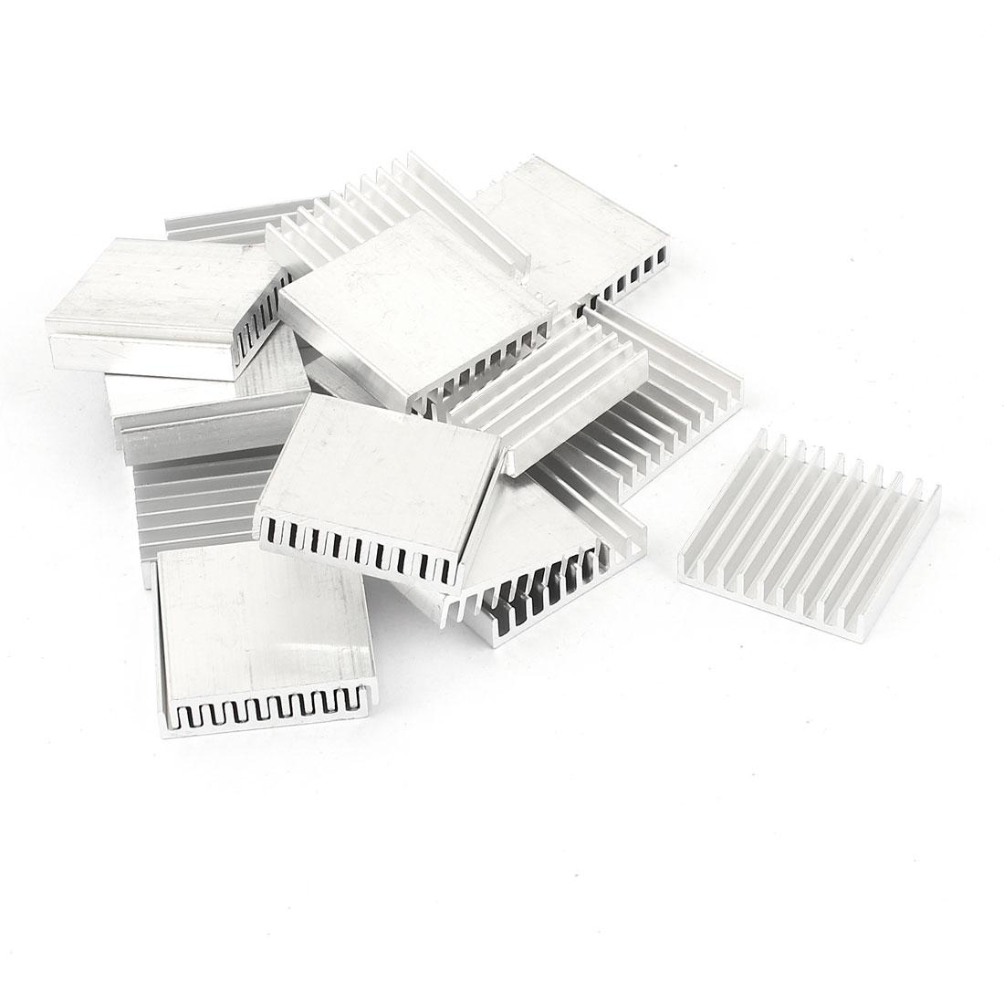 20 Pcs Aluminum Heatsinks Radiator Cooling Fin Cooler 28mmx28mmx6mm Silver Tone