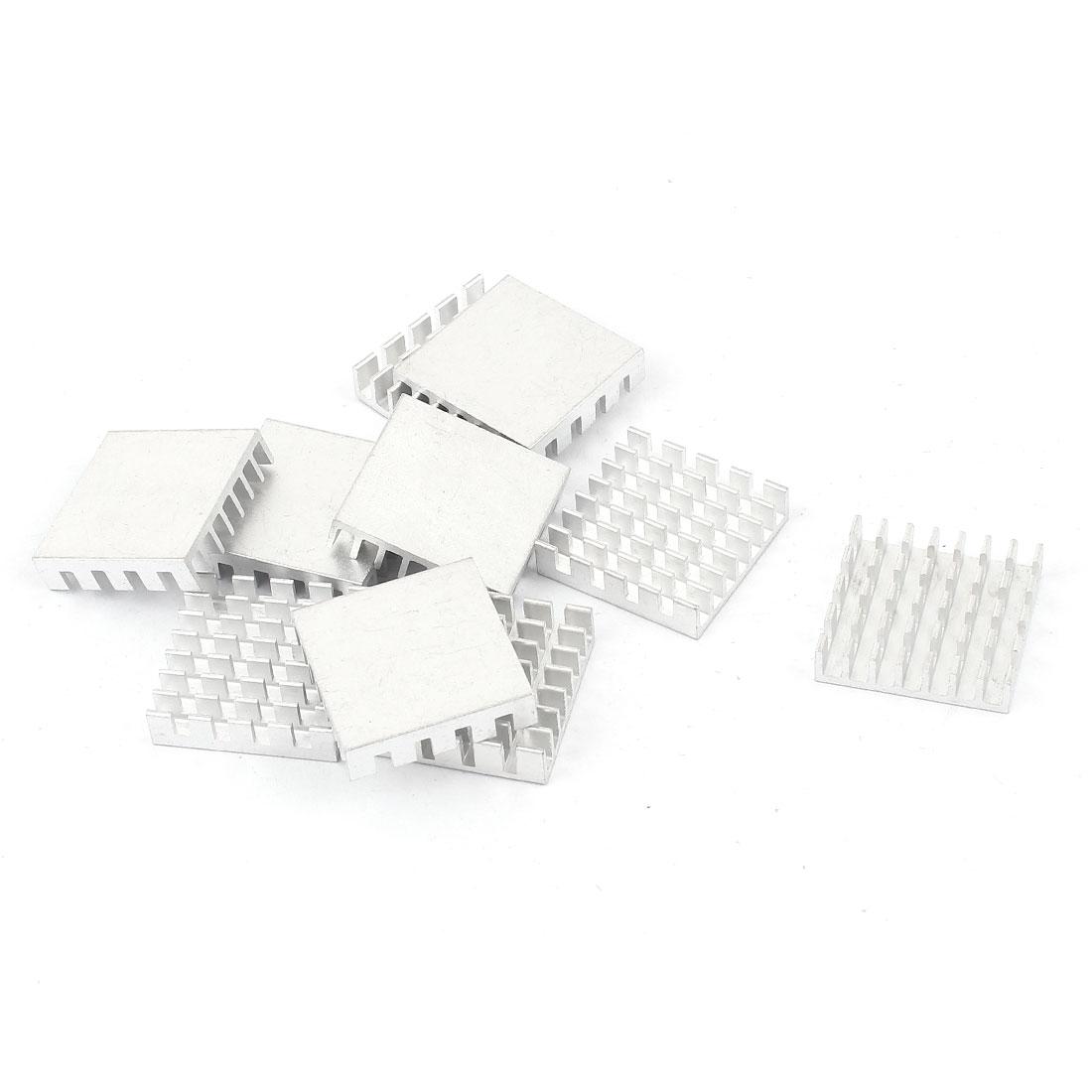 10 Pcs Square Aluminum Heatsink Radiator Heat Sink Cooling Cooler Fin 22mmx22mmx6mm Silver Tone