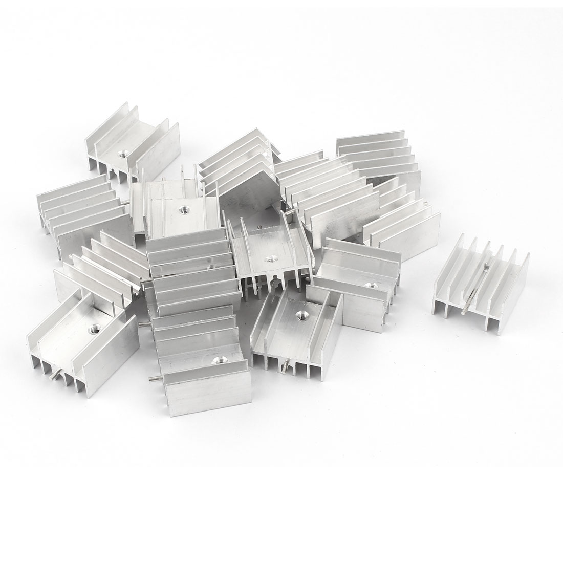 20 Pcs Aluminum Heatsinks Radiator + Needle 25x23x16mm Silver Tone for Mosfet IC