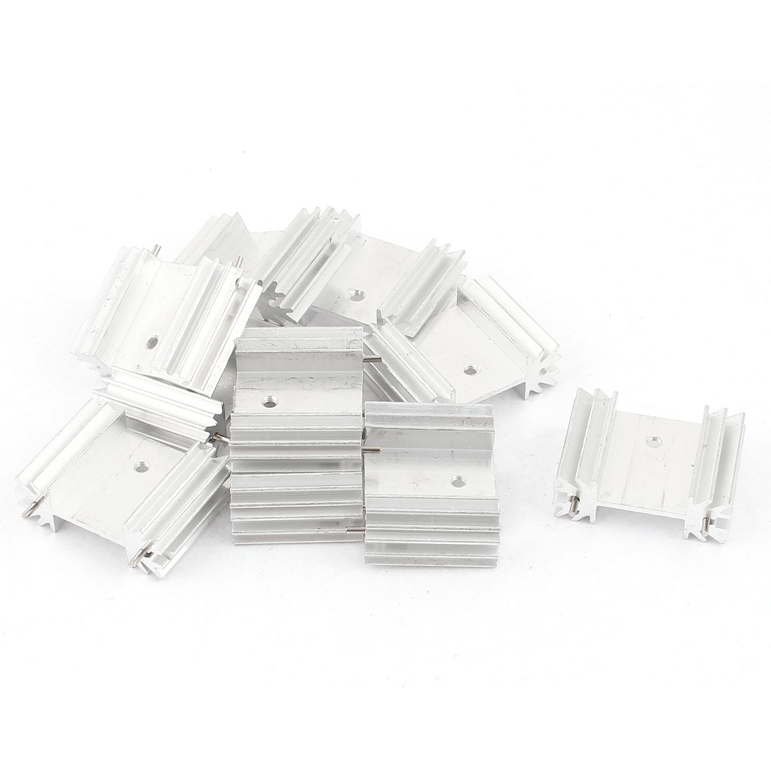 10 Pcs Screw Mount Aluminum Heatsink Heat Sink Radiator Cooling Cooler Fin w Needle 34mmx25mmx12mm Silver Tone for Mosfet IC