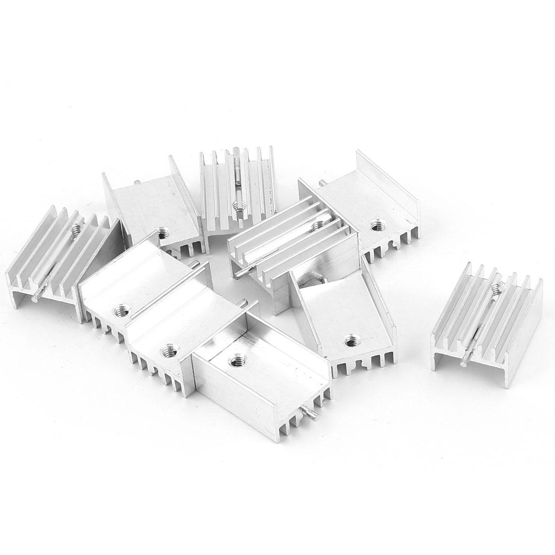 10 Pcs Aluminum Heatsinks Radiator + Needle 20x15x10mm Silver Tone for Mosfet IC