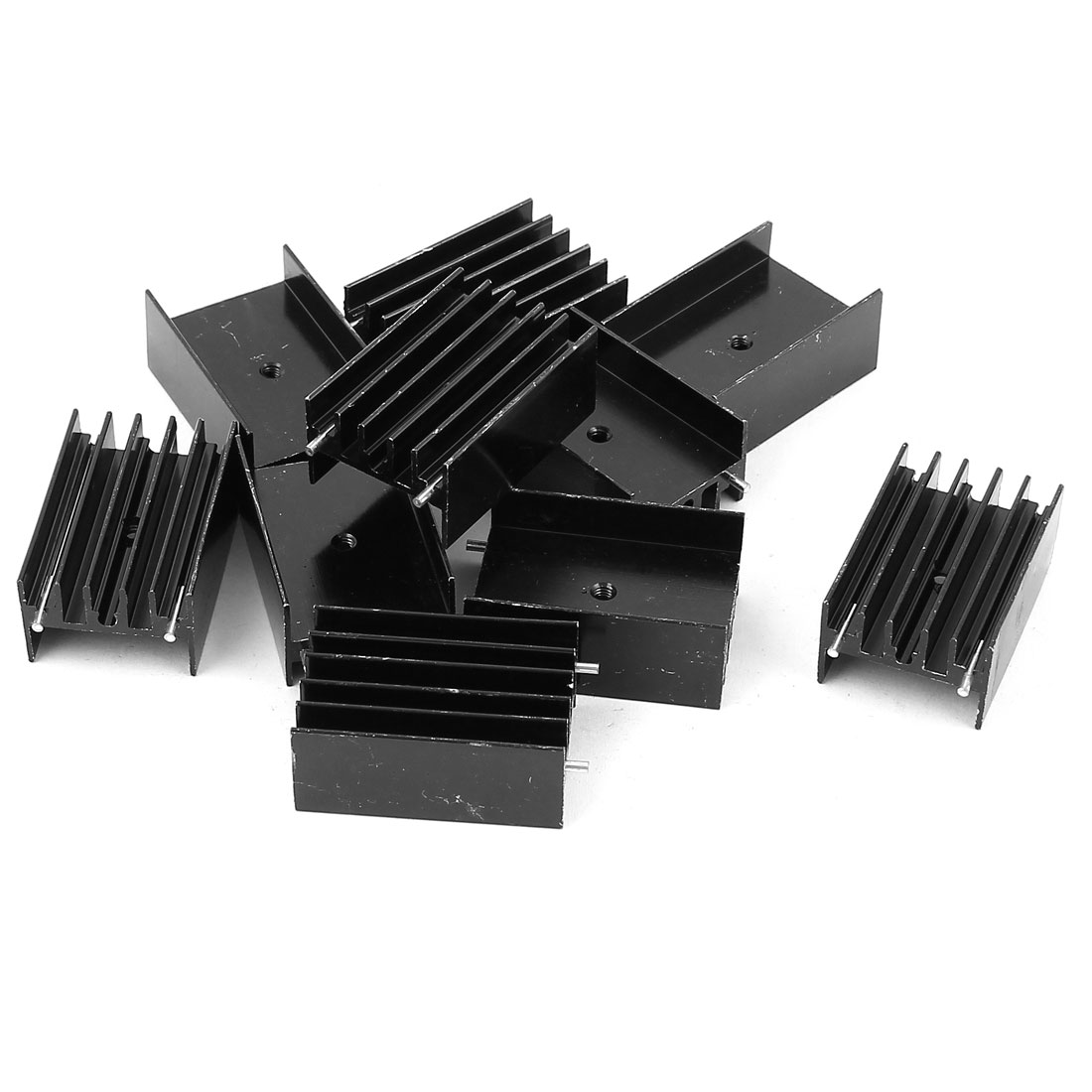 10 Pcs 35mmx23mmx16mm Black Aluminum Heatsinks Radiator + Needles for Mosfet IC