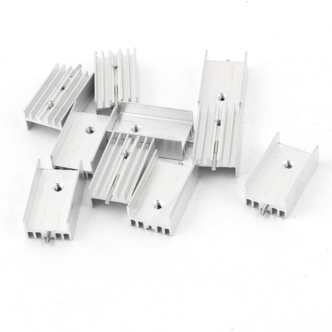 10 Pcs Screw Mount Aluminum Heatsink Heat Sink Radiator Cooling Cooler Fin w Needle 25mmx15mmx10mm Silver Tone for Mosfet IC