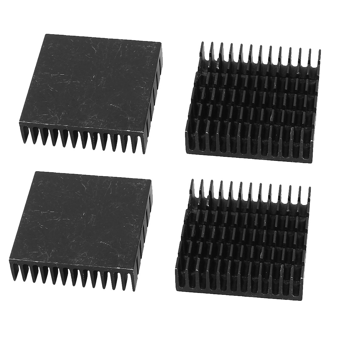 Aluminum Heatsink Radiator Heat Sink Cooling Cooler Fin Black 40mm x 40mm x 11mm 4 Pcs