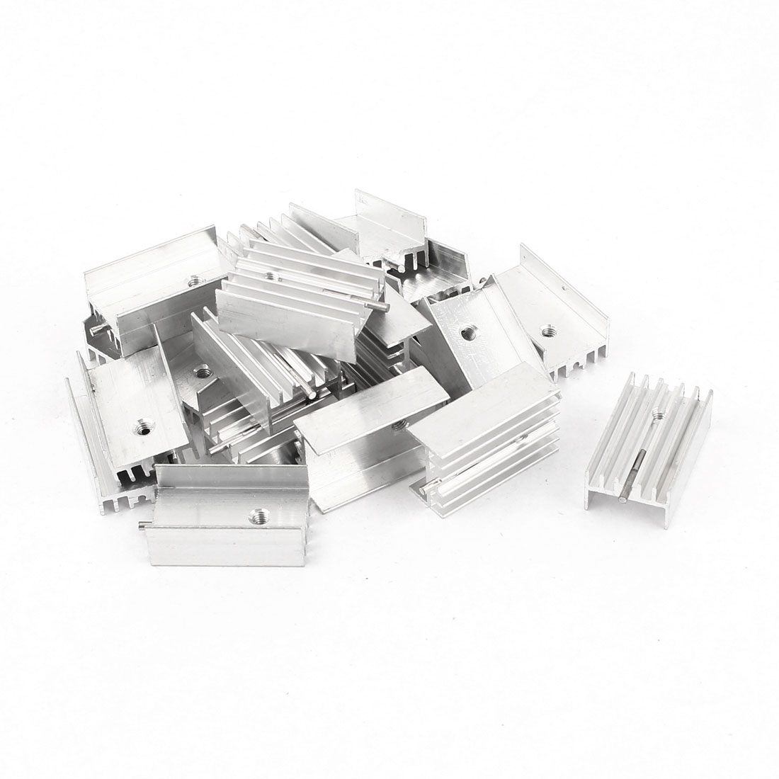 20 Pcs 25x15x10mm Silver Tone Aluminum Heatsinks Radiator + Needle for Mosfet IC