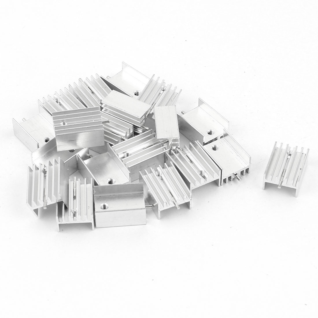 20 Pcs Aluminum Heatsinks Radiator + Needle 20x15x10mm Silver Tone for Mosfet IC