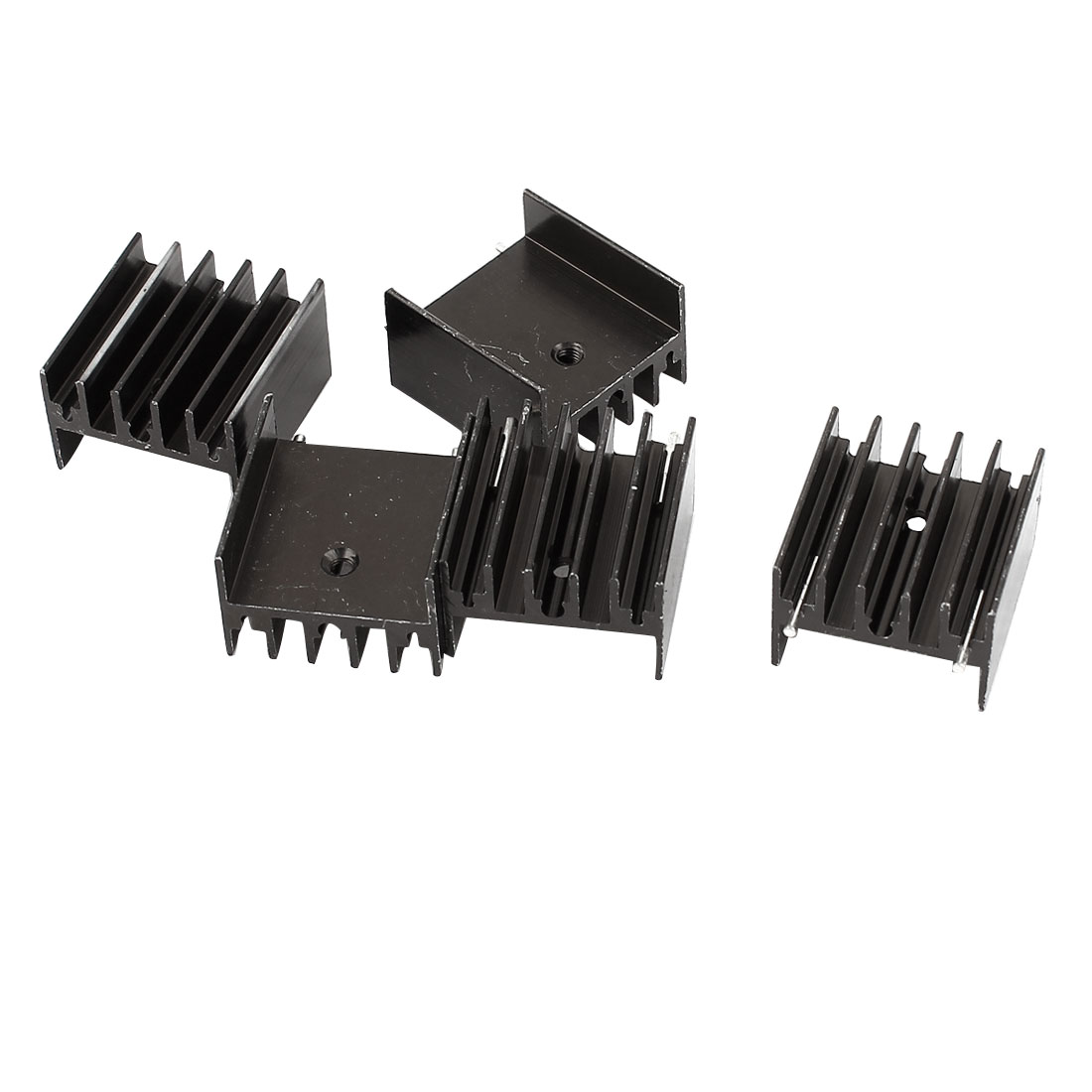 5 Pcs 25mmx23mmx16mm Black Aluminum Heatsinks Radiator + Needles for Mosfet IC