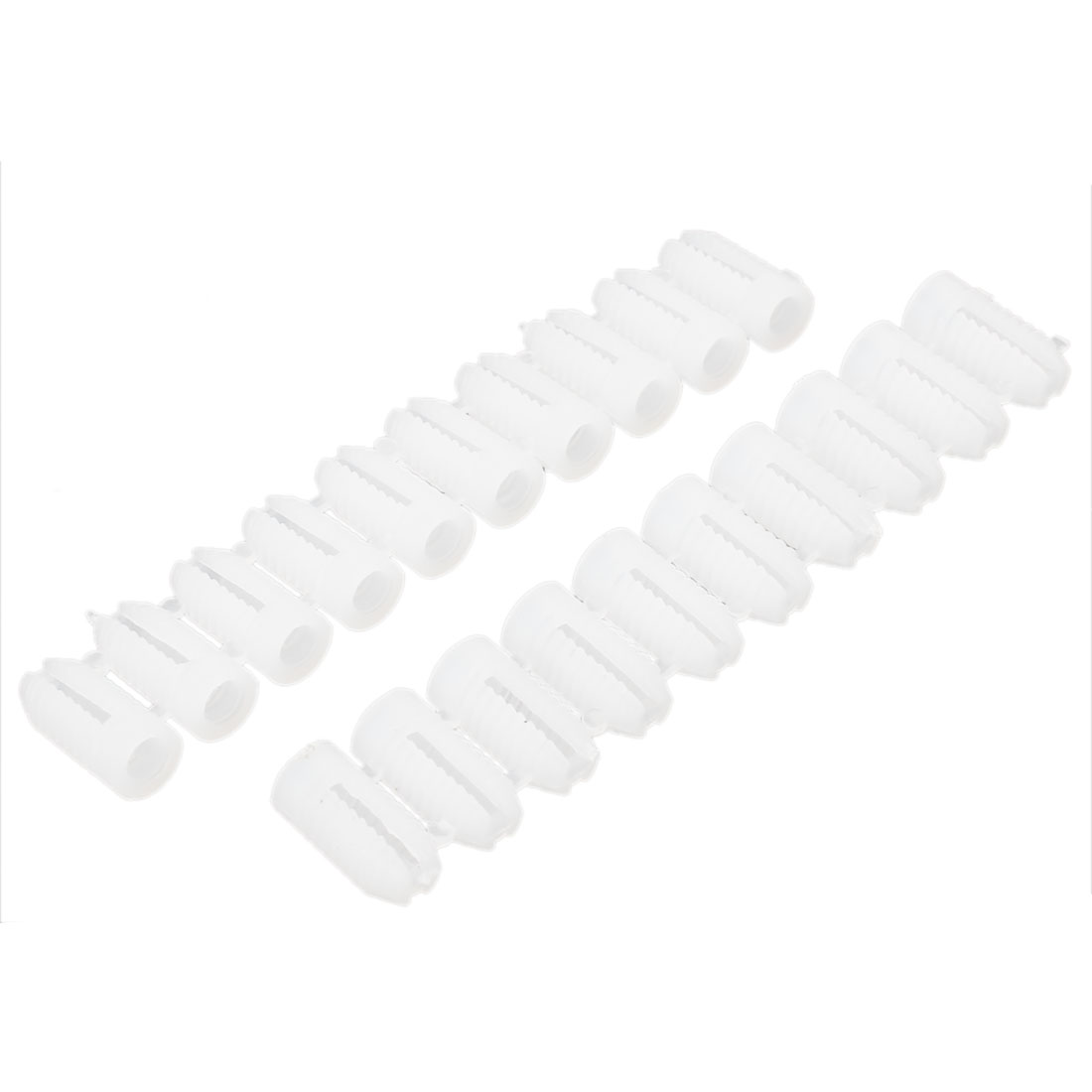 White Plastic 5mm Diameter Screw Wall Expansion Bolt Plug 20 Pieces