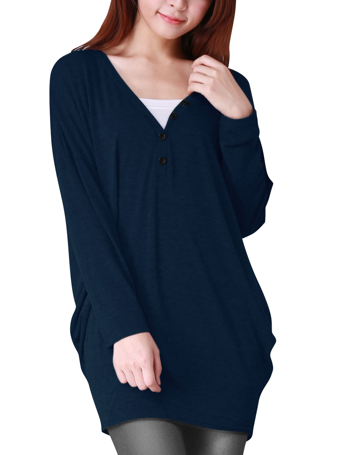 Lady Long Dolman Sleeves Buttons Decor Front Blouse Dark Blue XL