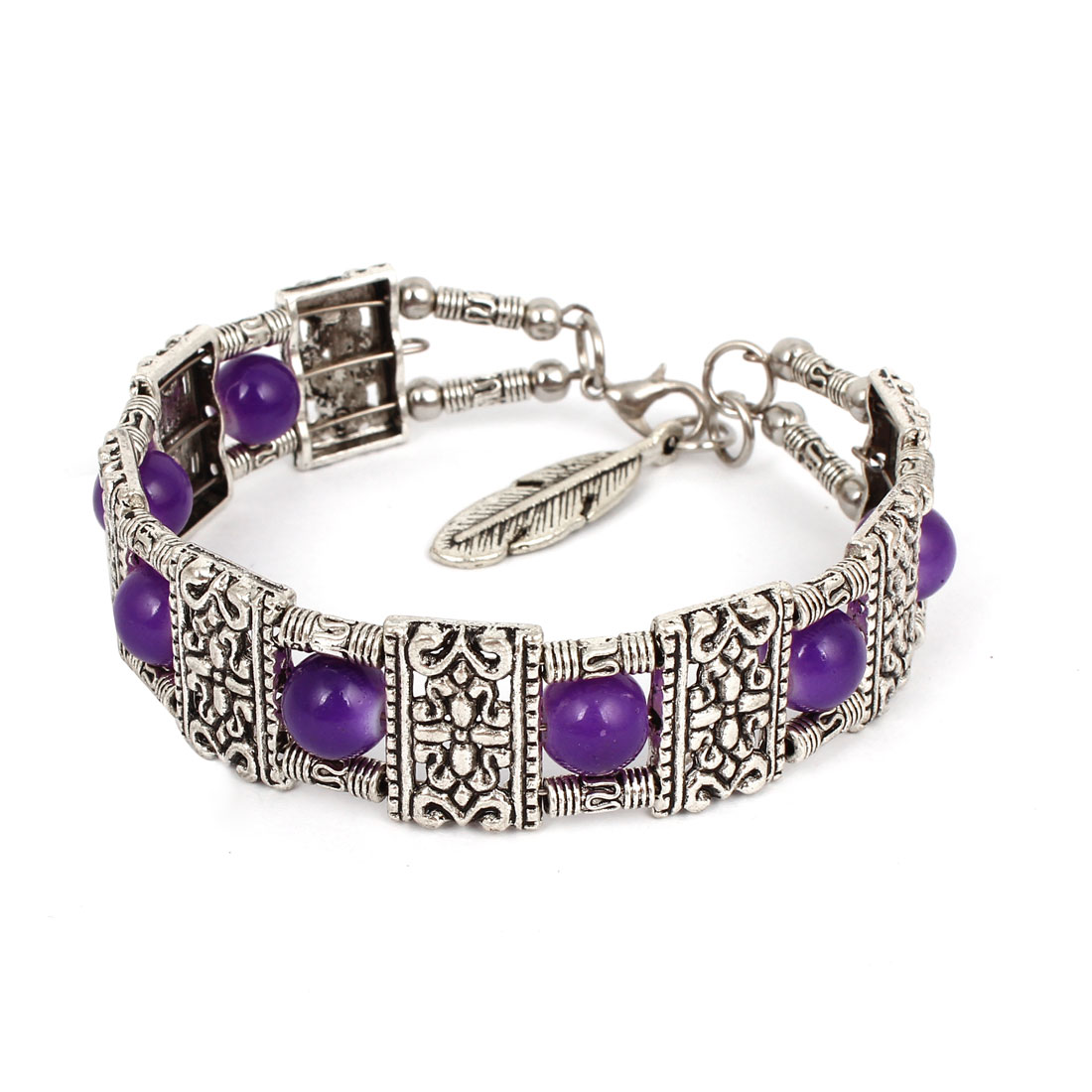 Purple Beads Accent Silver Tone Metal Chain Wrist Bangle Bracelet for Lady