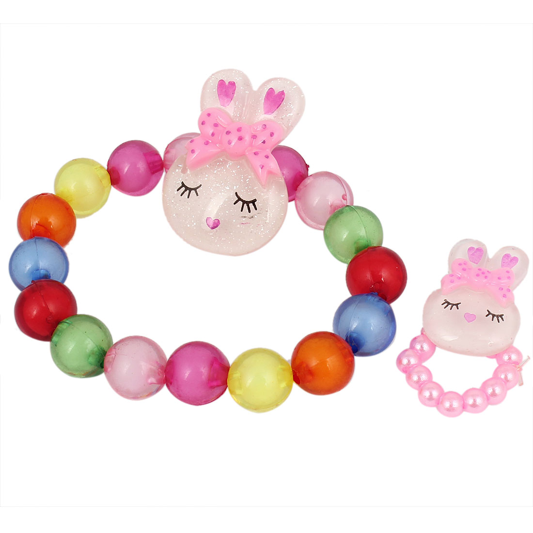 Multicolor Rabbit Decor Beads Chain Elastic Wrist Bracelet for Girls w Pink Beaded Finger Ring