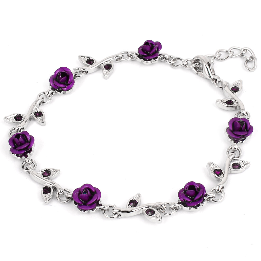 Lady Metal Roses Leaves Decor Adjustable Chain Wrist Bangle Bracelet Dark Purple
