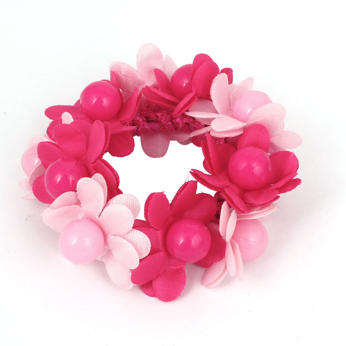 Women Fuchsia Pink Flowers Beads Decor Elastic Band Hair Tie Ponytail Holder
