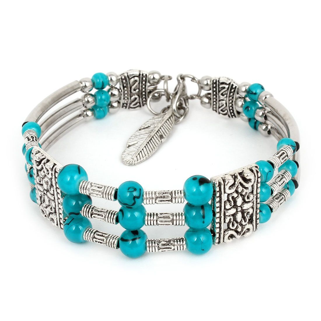 Teal Plastic Beads Accent Silver Tone Metal Chain Wrist Bangle Bracelet for Women