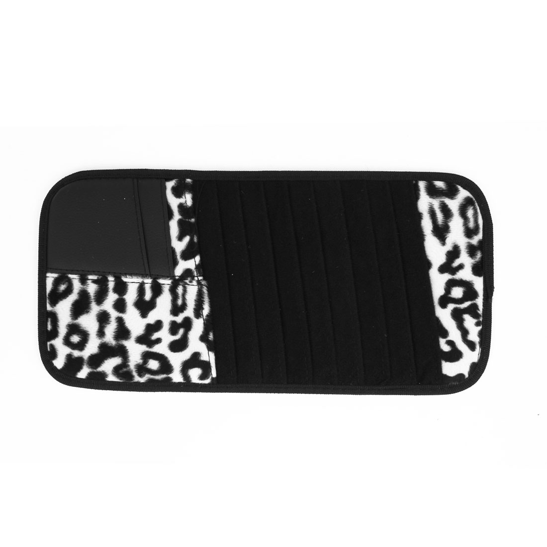 Car Leopard Print Faux Leather Fleece Sun Visor 8pcs CD Card Storage Bag Black White