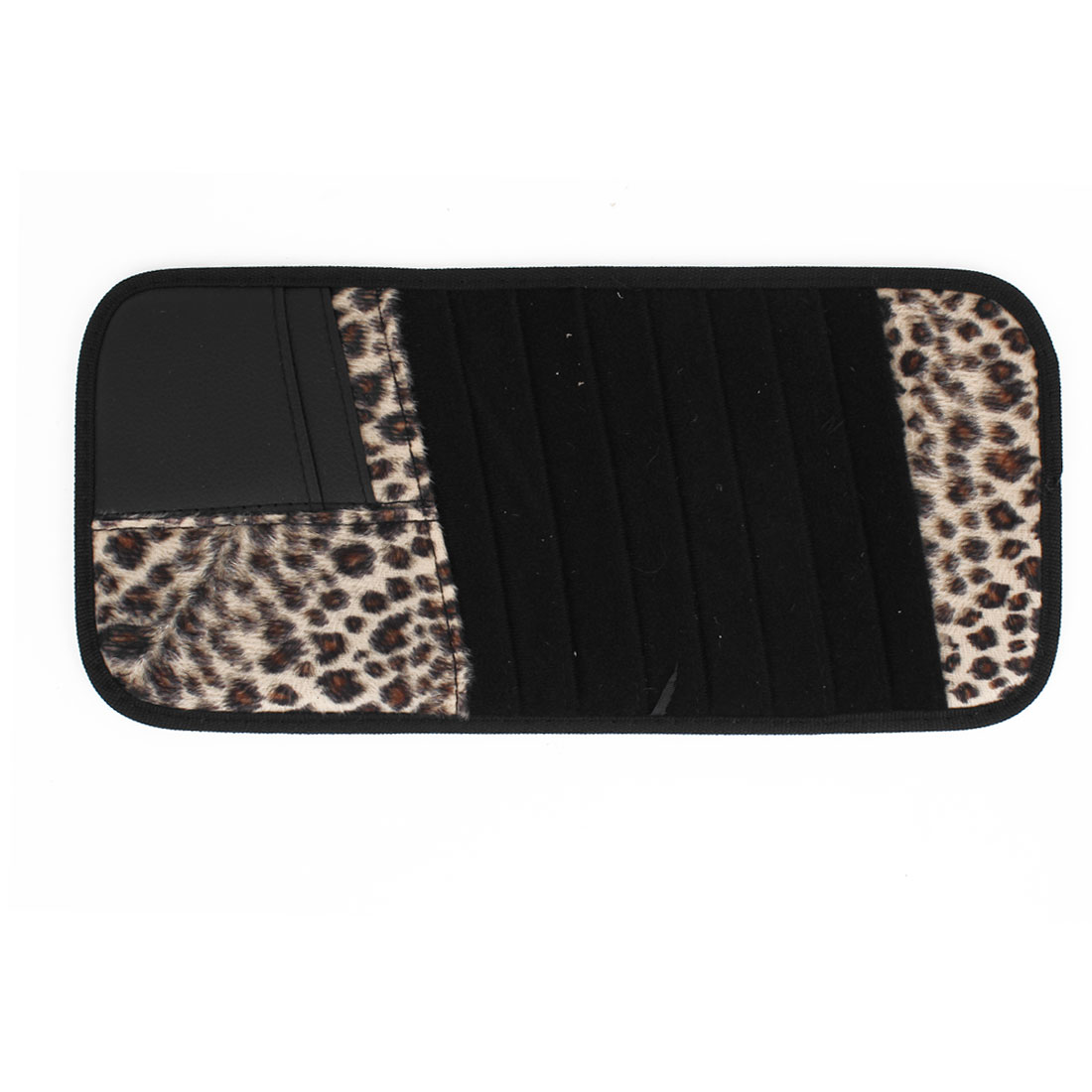 Vehicle Car Sun Visor Leopard Pattern 8pcs CD DVD Storage Card Holder Case Black Beige