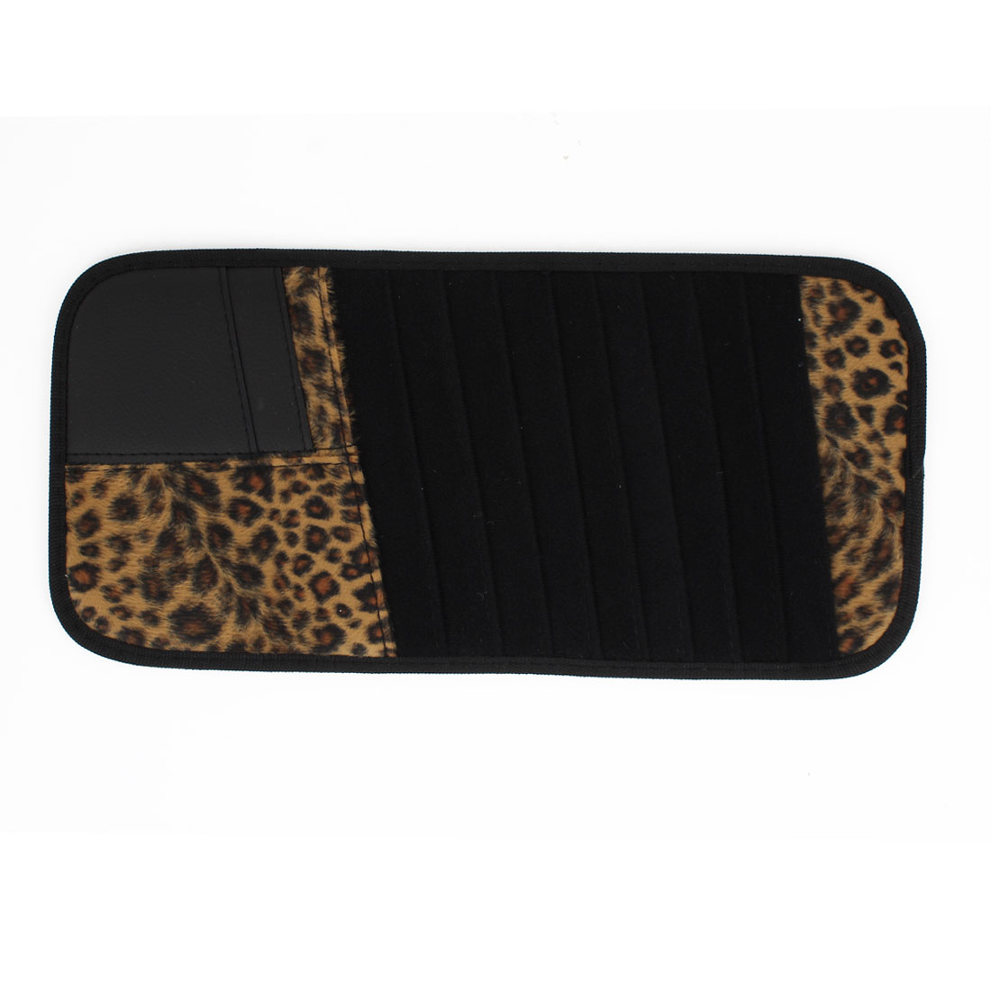 Vehicle Car Sun Visor Black Brown Leopard Pattern 8pcs CD DVD Storage Card Holder Case