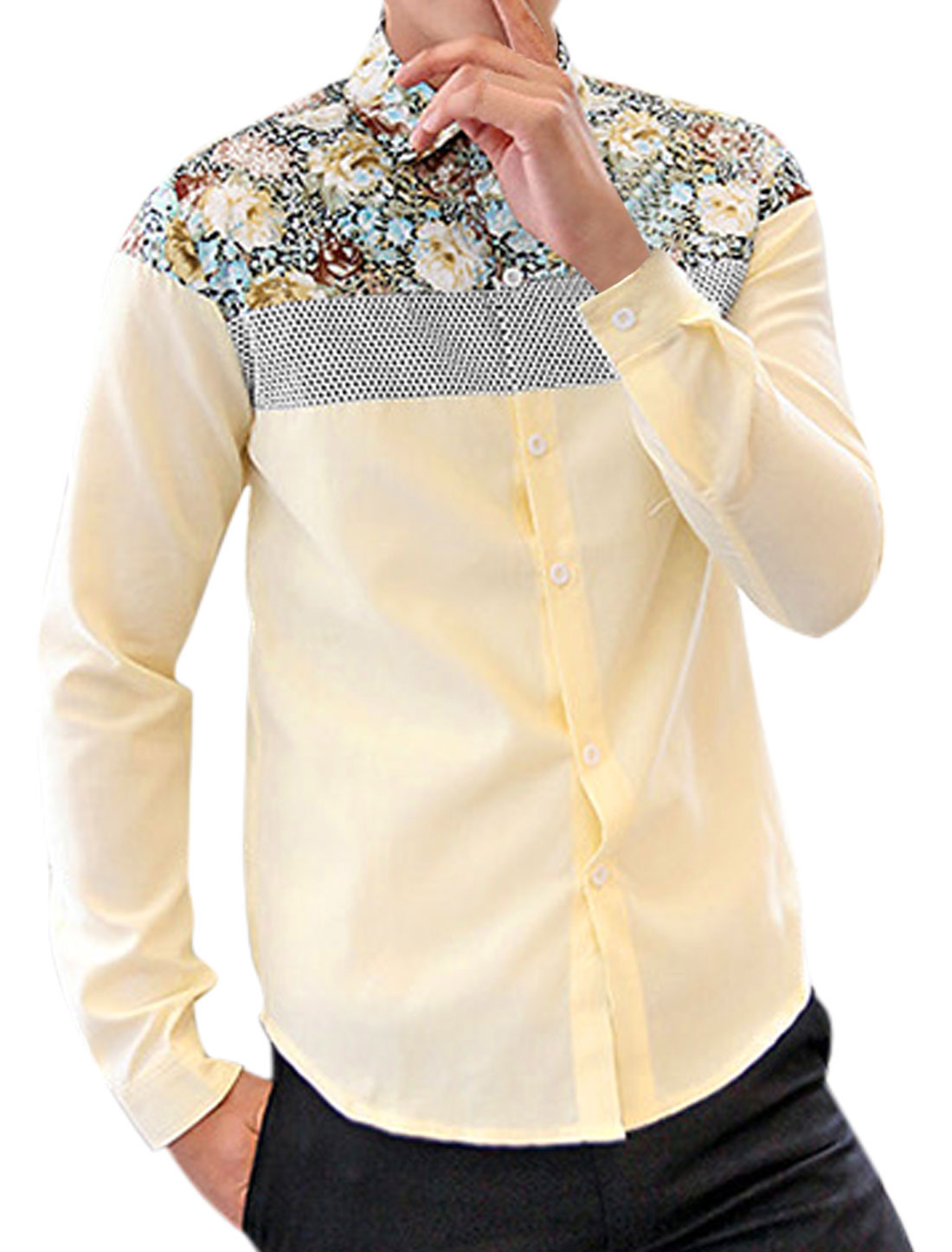 Men Floral Prints Dots Design Single Breasted Slim Shirt Light Yellow M