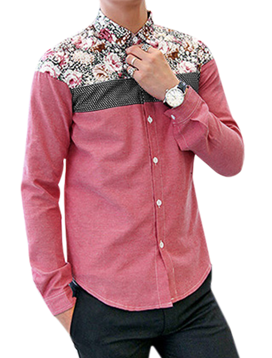 Men Button Closure Front Floral Prints Leisure Shirt Light Burgundy M