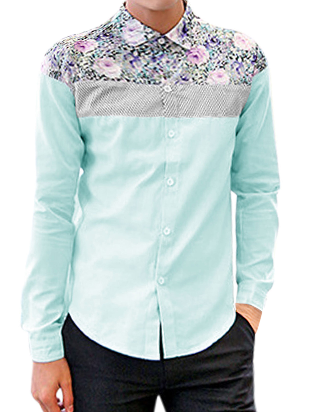 Men Floral Prints Button Closure Round Hem Leisure Shirt Baby Blue M