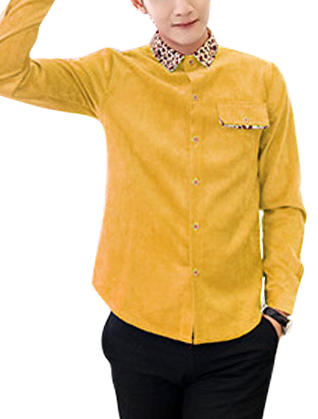 Men Point Collar Single Breasted Slim Fit Corduroy Shirt Yellow M