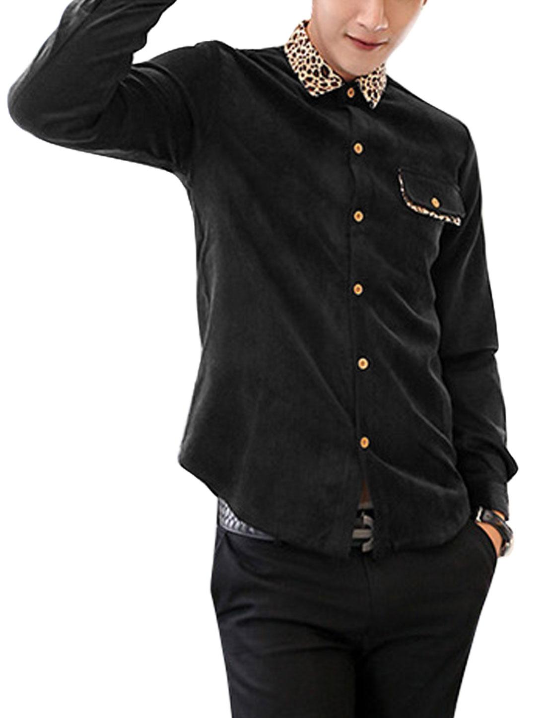 Men Point Collar Leopard Detail Casual Corduroy Shirt Black M