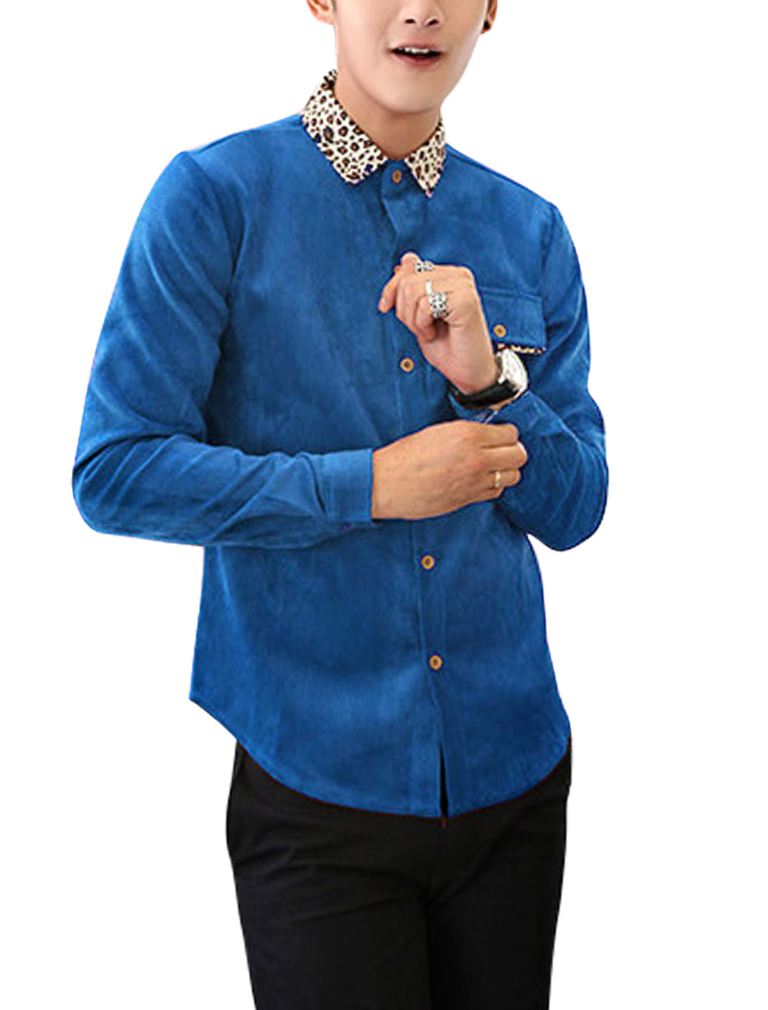 Men Single Breasted Button Cuffs Leisure Corduroy Shirt Royal Blue M