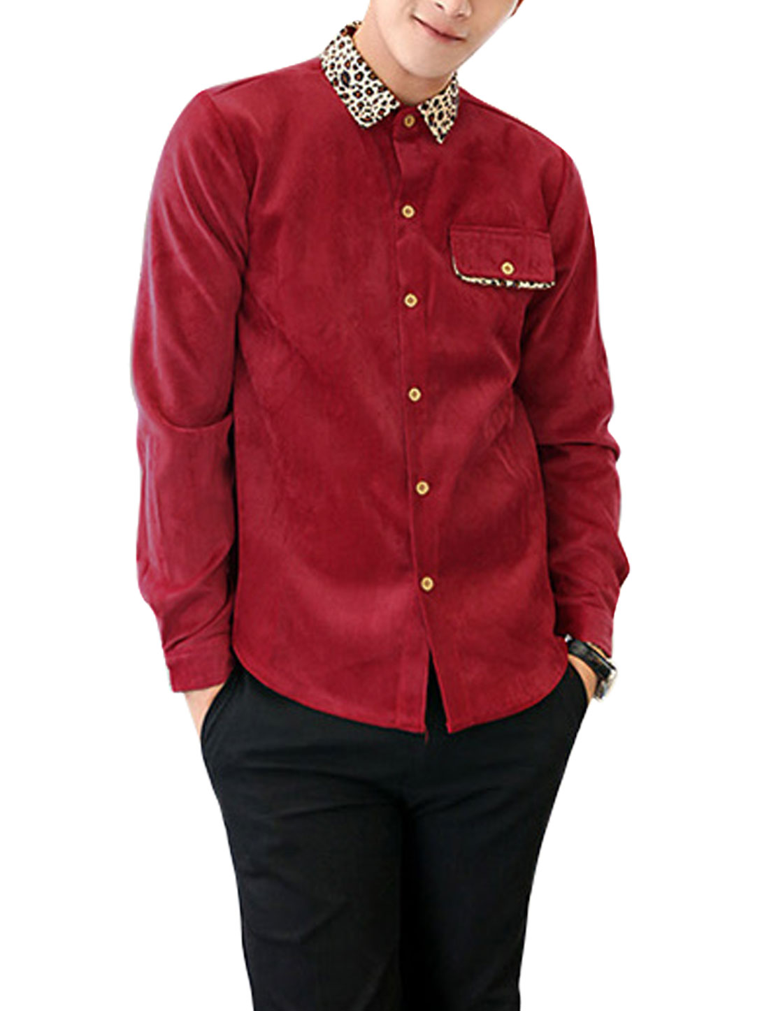 New Style Point Collar Button Closure Front Casual Corduroy Shirt for Men Burgundy M