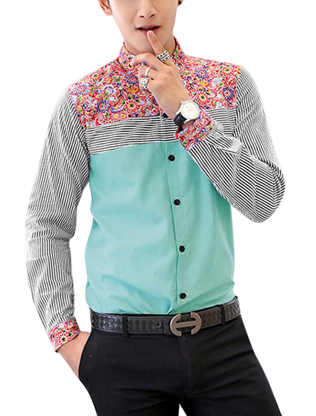 Men Floral Stripes Pattern Single Breasted Slim Shirt Baby Blue M