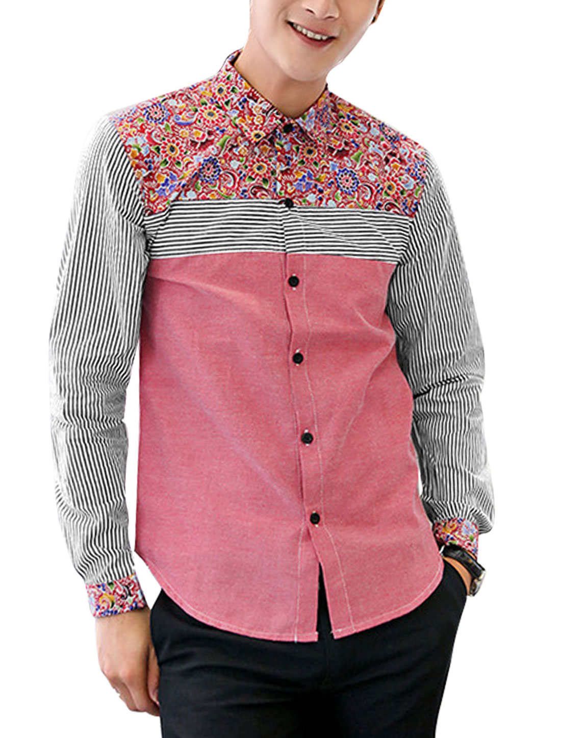Men Point Collar Floral Stripes Pattern Leisure Shirt Pink M