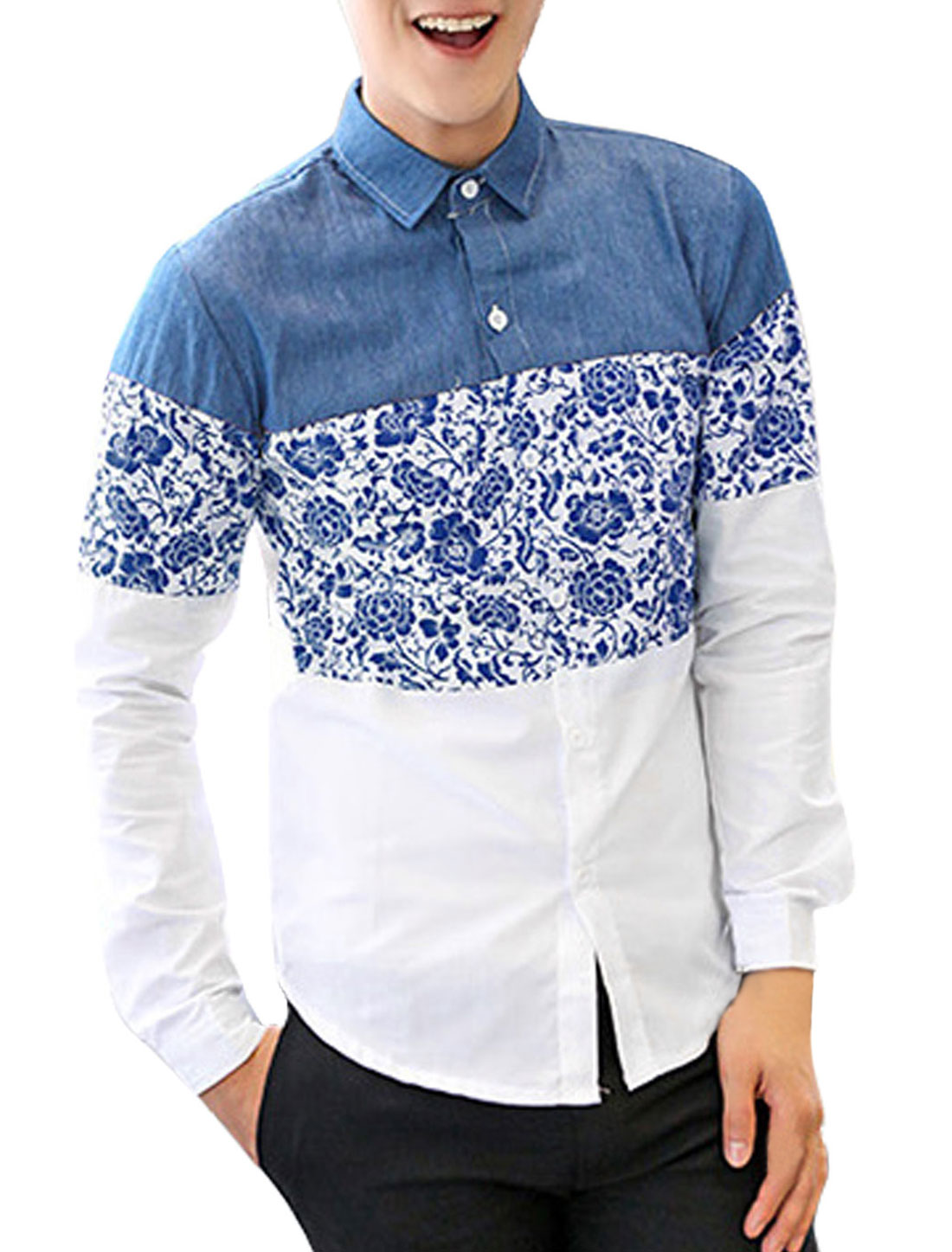 Men Point Collar Floral Pattern Single Breasted Shirt Navy Blue White M