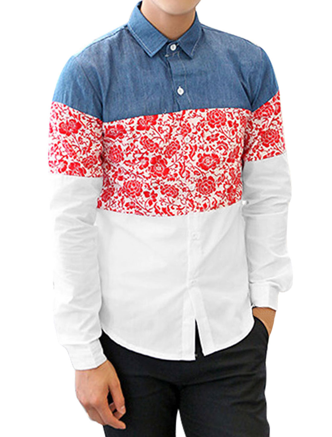 Slim Fit Casual Floral Pattern Trendy Shirt for Men Red White M