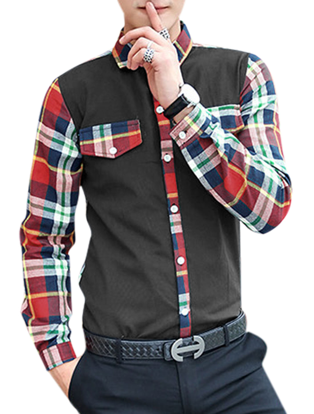 Men Plaids Pattern Single Breasted Mock Chest Pockets Shirt Red Black M