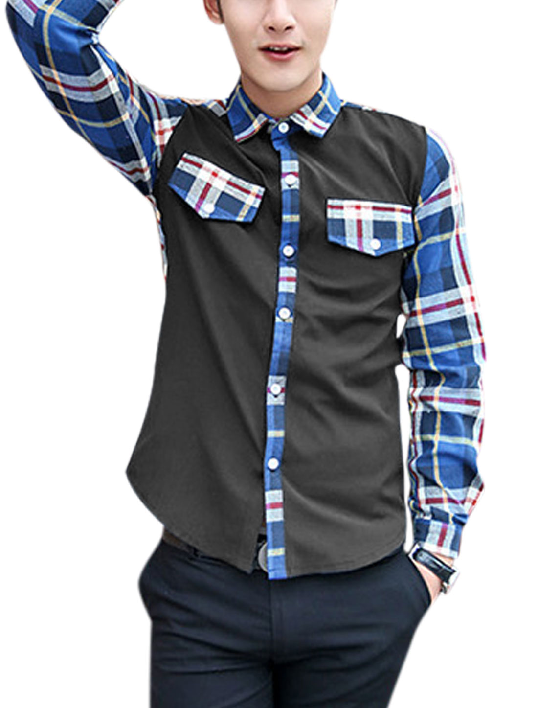 Men Button Closure Long Sleeve Plaids Pattern Shirt Royal Blue Black M