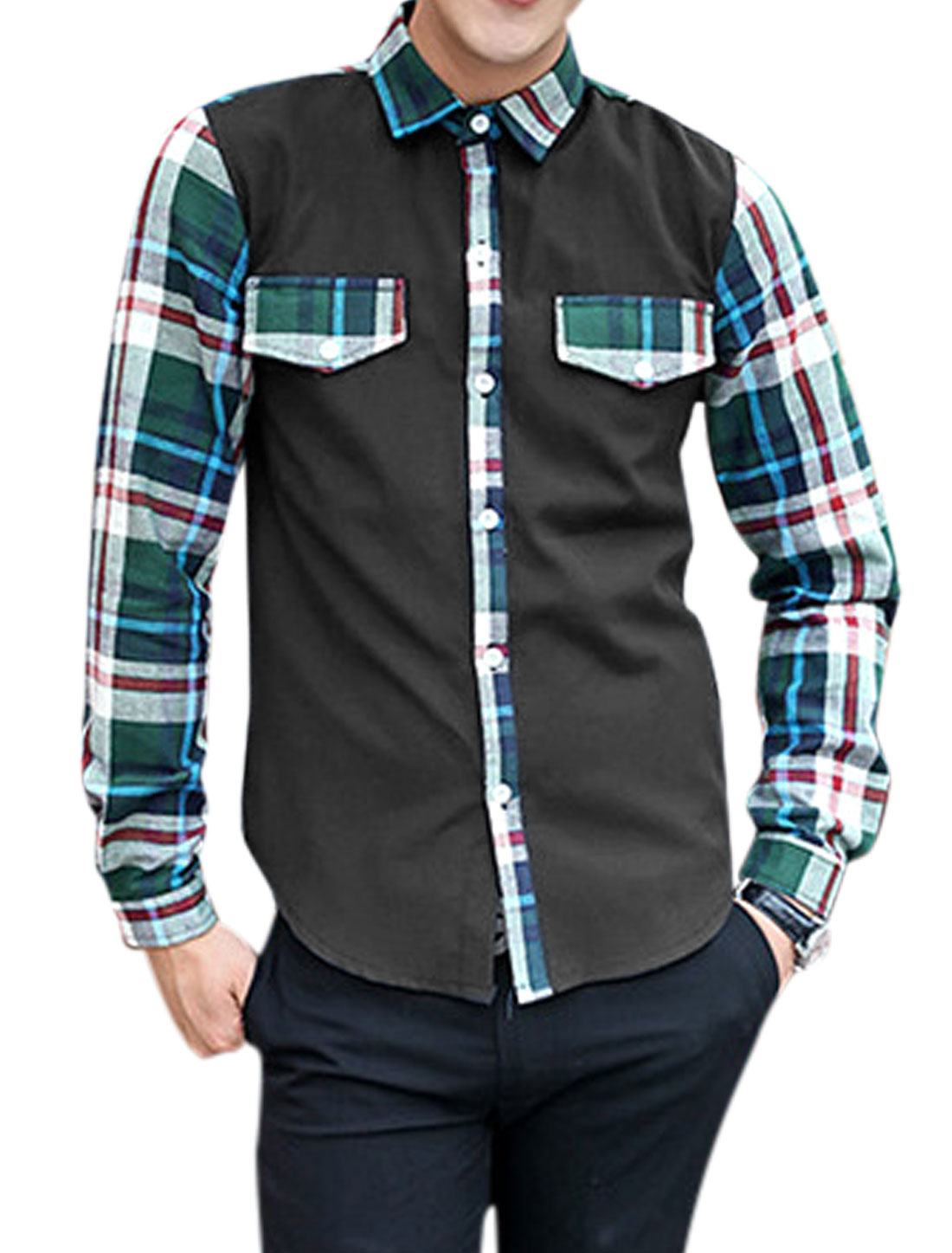 Men Plaids Pattern Single Breasted Round Hem Shirt Green Black M