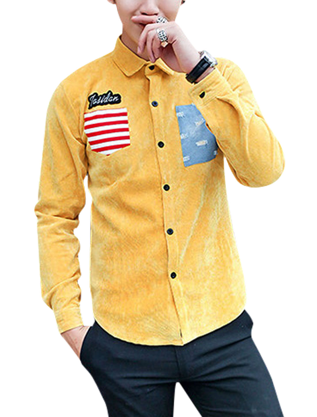 Men Single Breasted Long Sleeve Round Hem Leisure Shirt Yellow Red M