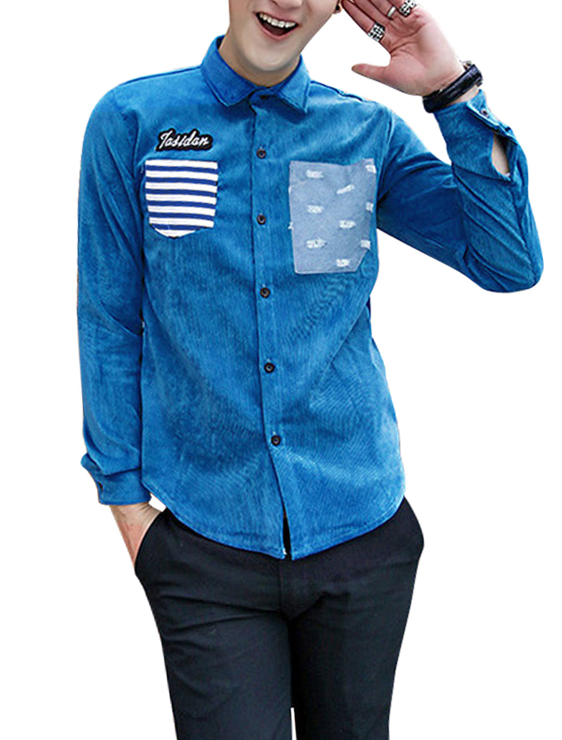Men Button Closure Stripes Back Spliced Casual Shirt Royal Blue White M