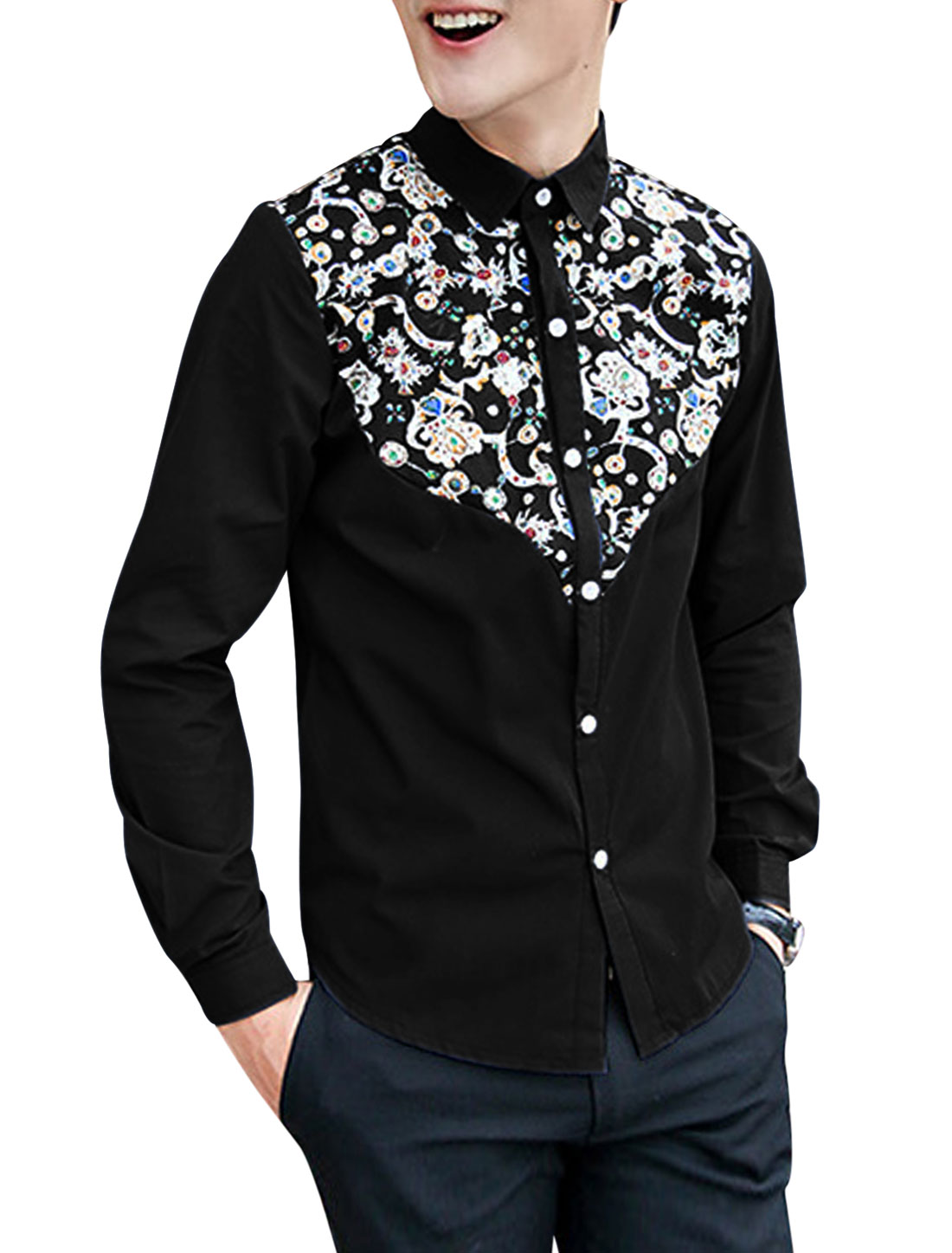 Men Single Breasted Floral Prints Round Hem Slim Fit Casual Shirt Black M