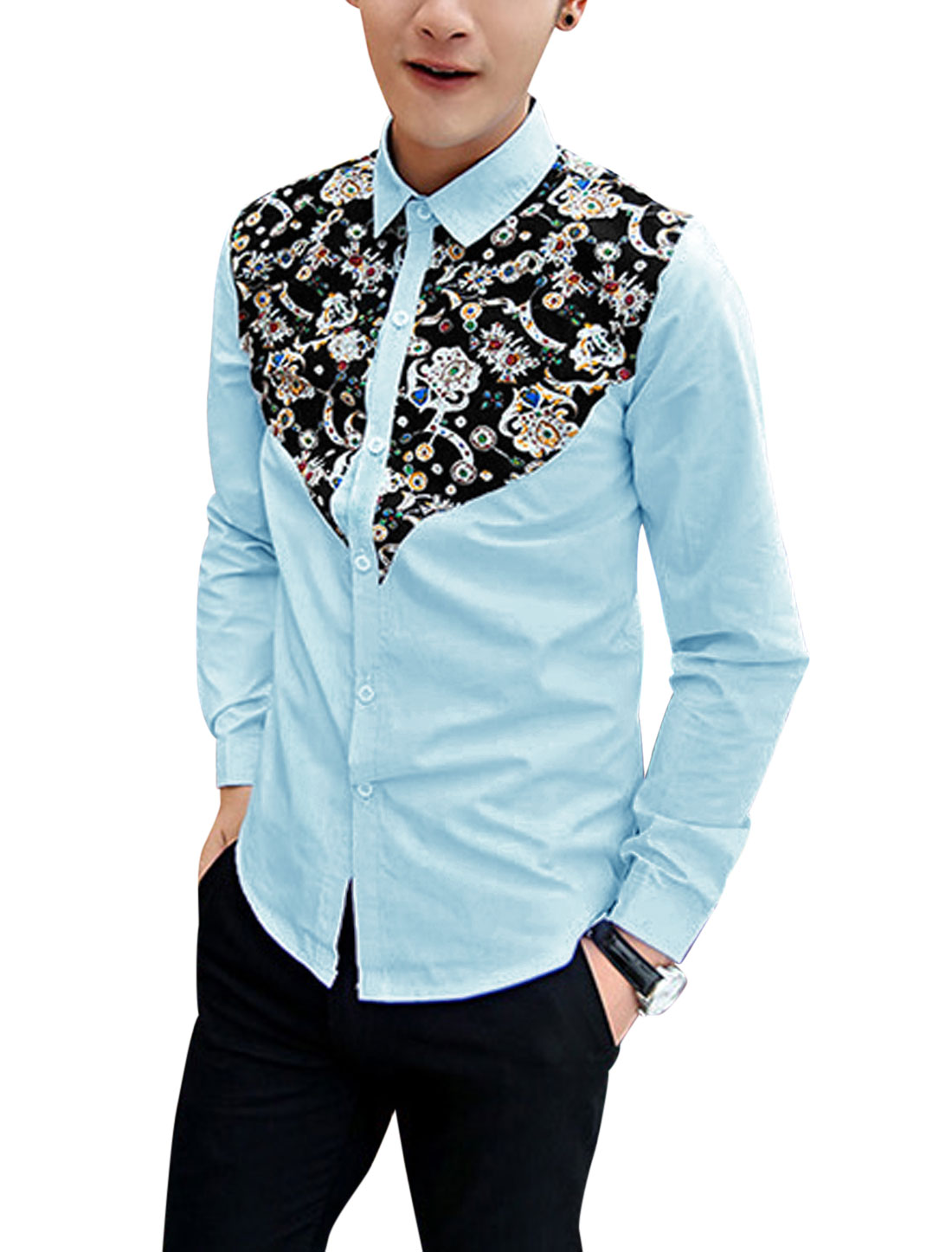 Men Button Closure Front Floral Prints Casual Shirt Light Blue M