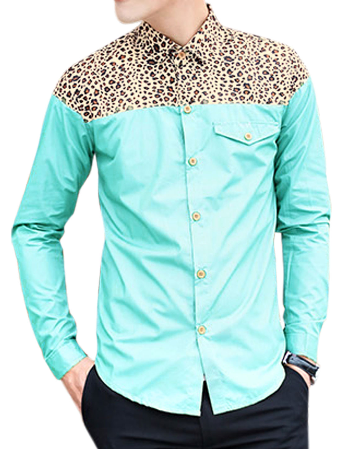 Men Leopard Panel Single Breasted Fashion Casual Shirt Baby Blue M