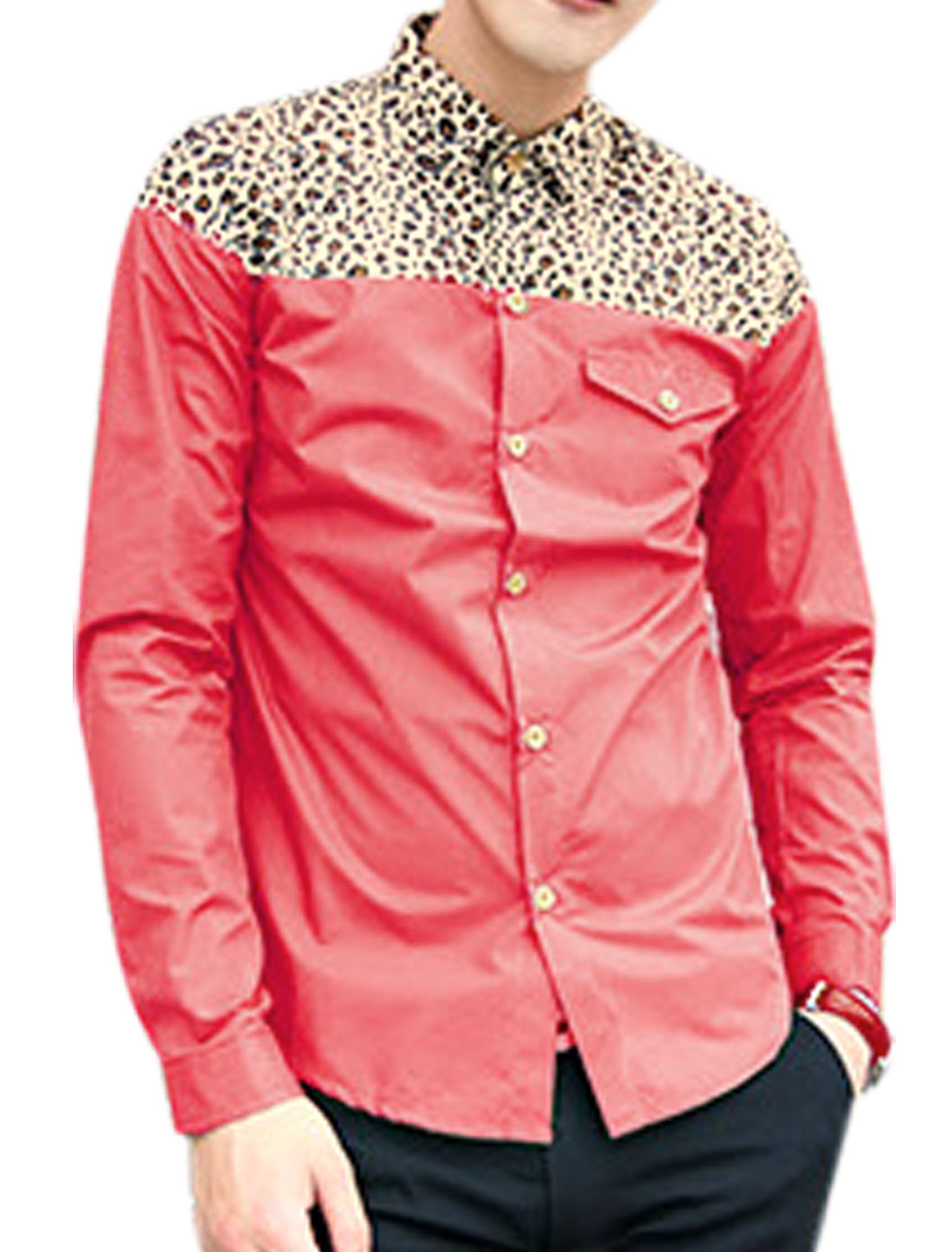 Men Point Collar Leopard Panel Leisure Shirt Fuchsia M