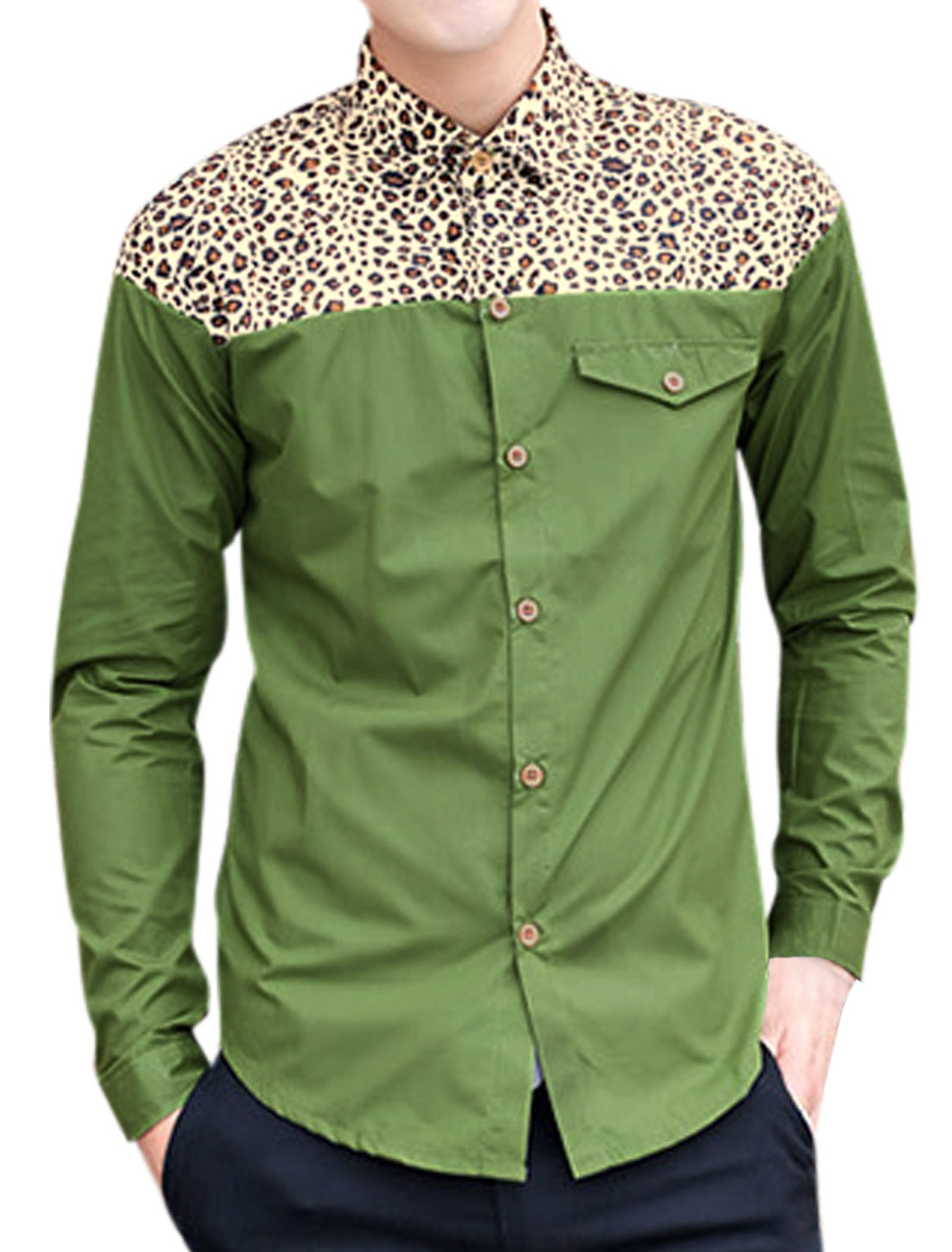 Slim Fit Casual Leopard Panel Round Hem Shirt for Men Army Green M