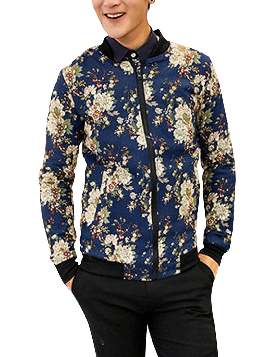 Men Zip Up Double Slant Pockets Trendy Casual Jacket Navy Blue S
