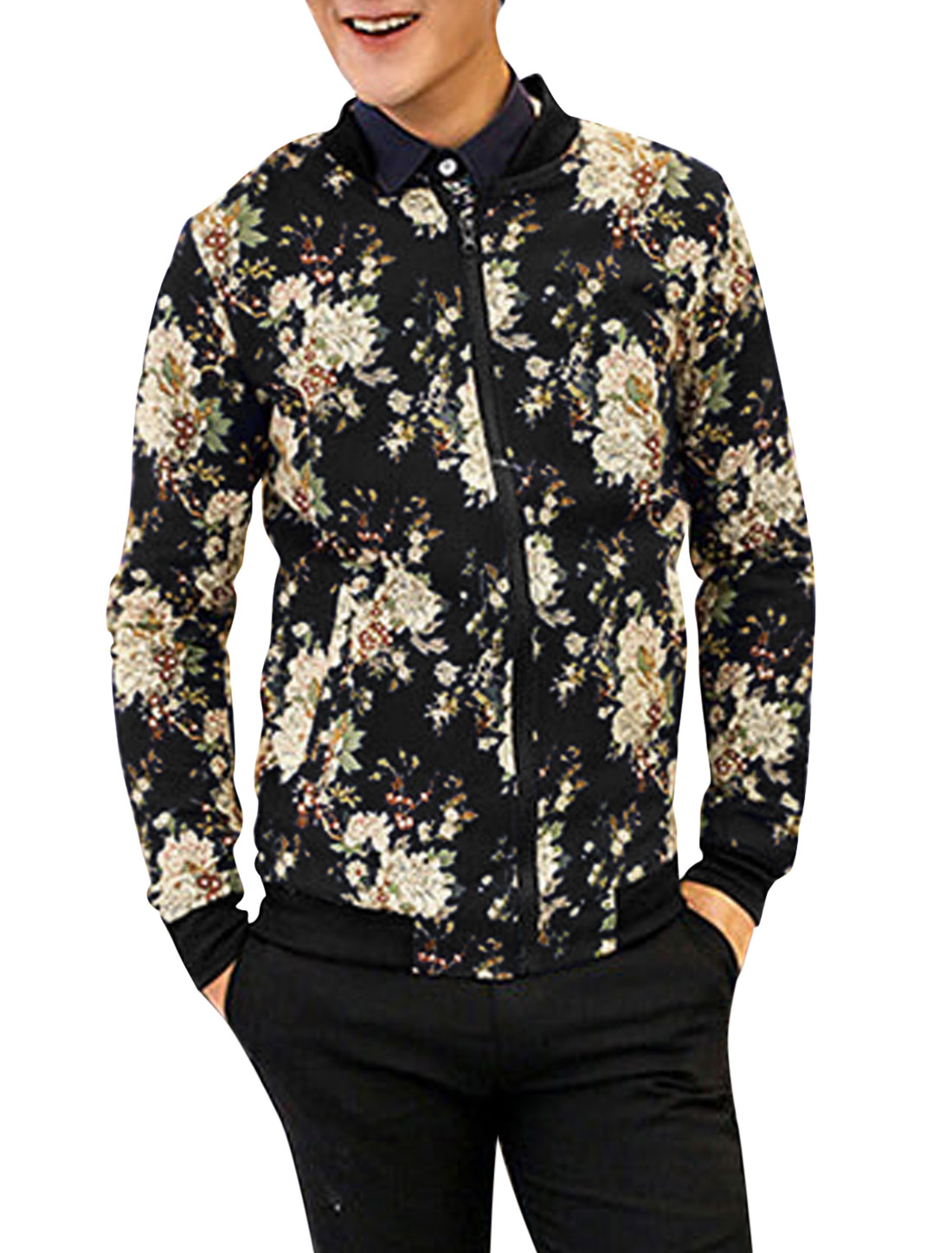 New Style Floral Pattern Stand Collar Fashion Jacket for Men Black S