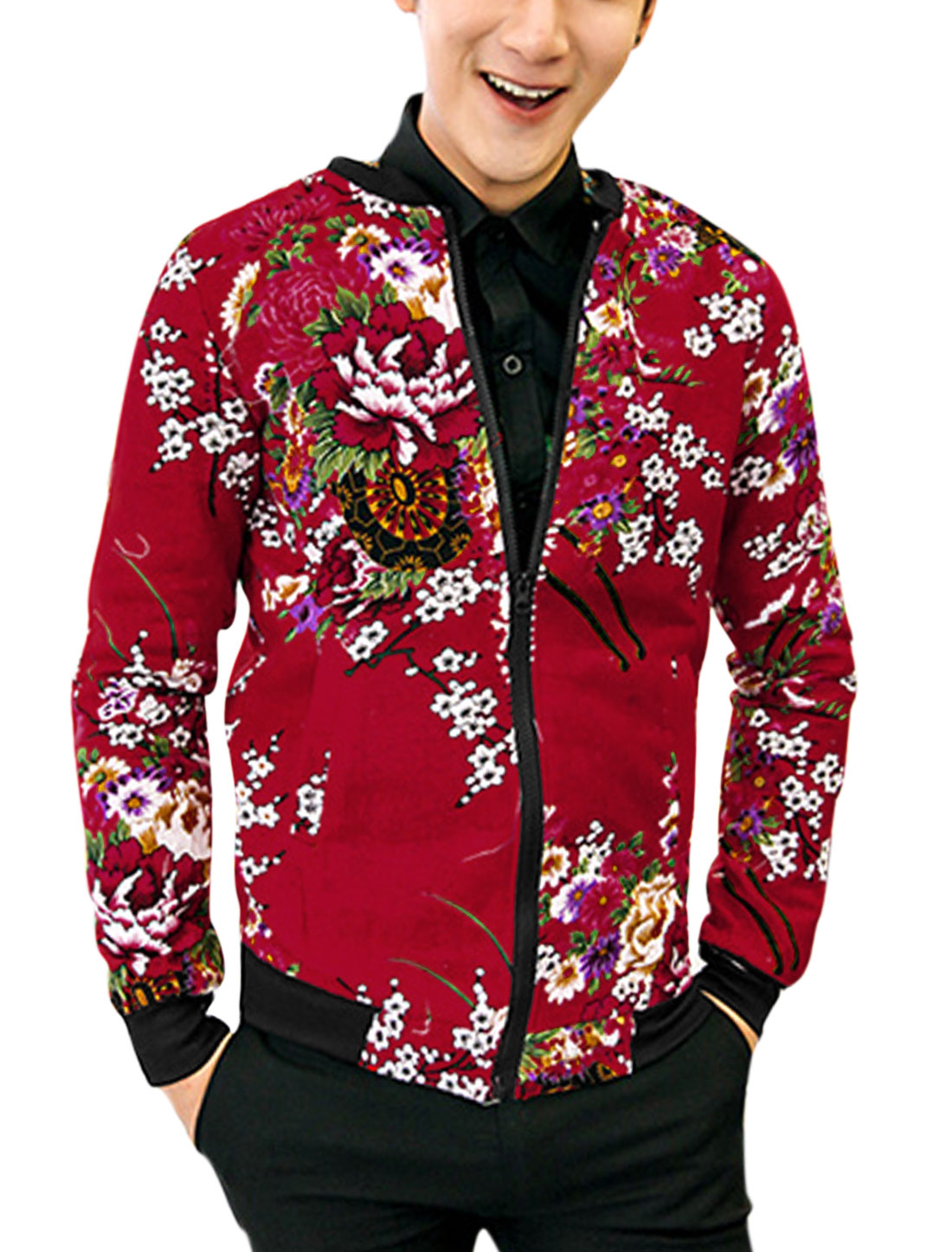 Men Fashion Style Floral Pattern Slant Pockets Casual Light Jacket Red S
