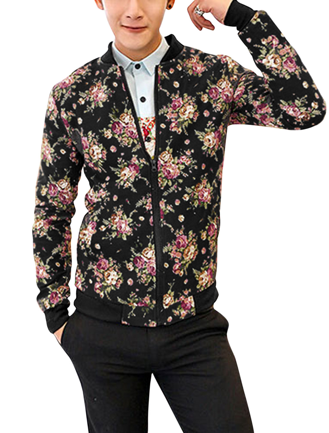 Men Zip Up Front Floral Pattern Double Slant Pockets Light Jacket Black S