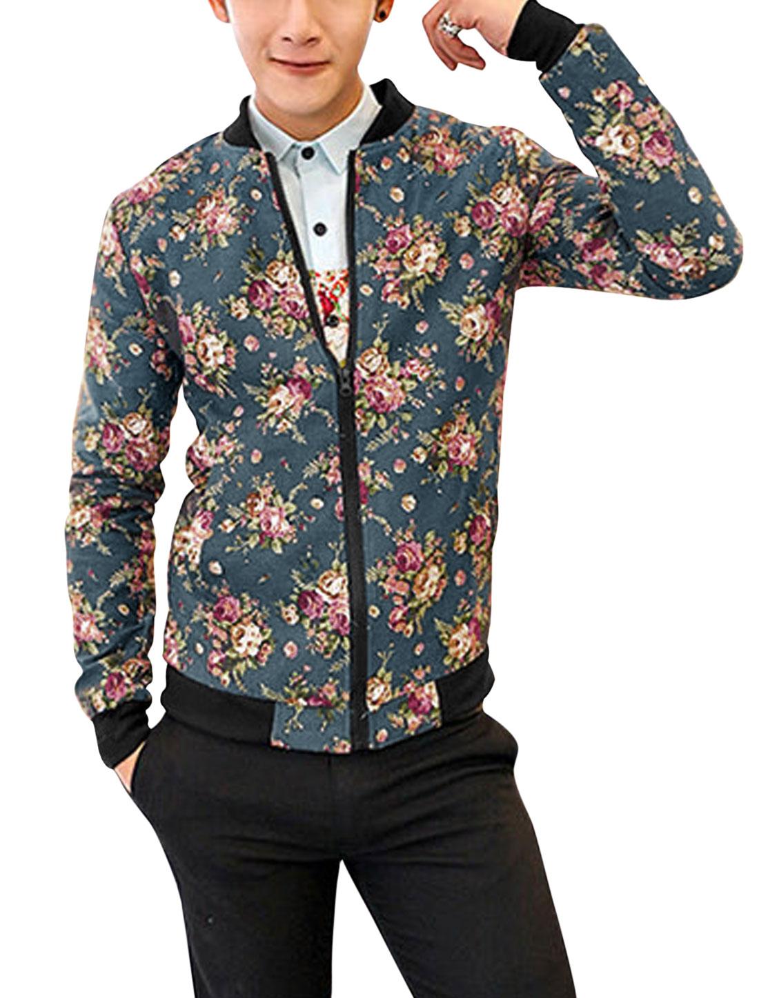 Men Fashion Style Floral Pattern Zip Up Light Jacket Steel Blue S