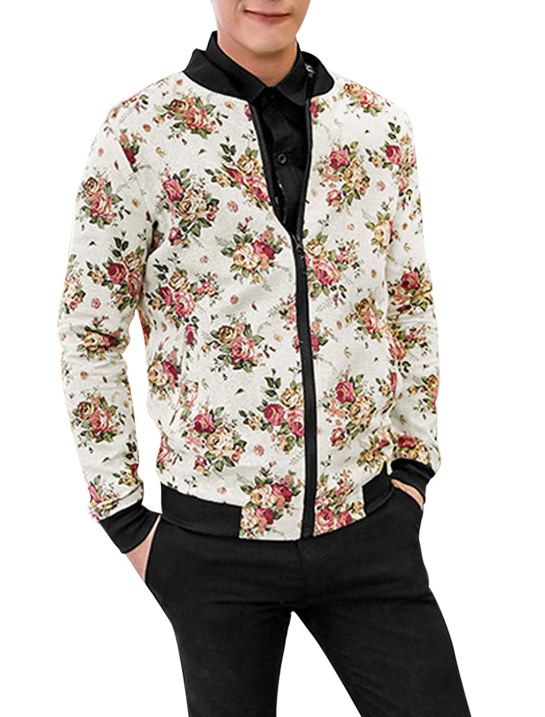 Men Floral Pattern Zipper Closure Long Sleeve Casual Light Jacket Beige S