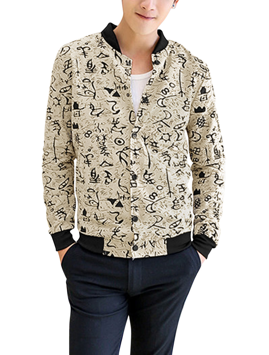 Men Single Breasted Hieroglyph Pattern Casual Jacket Beige S
